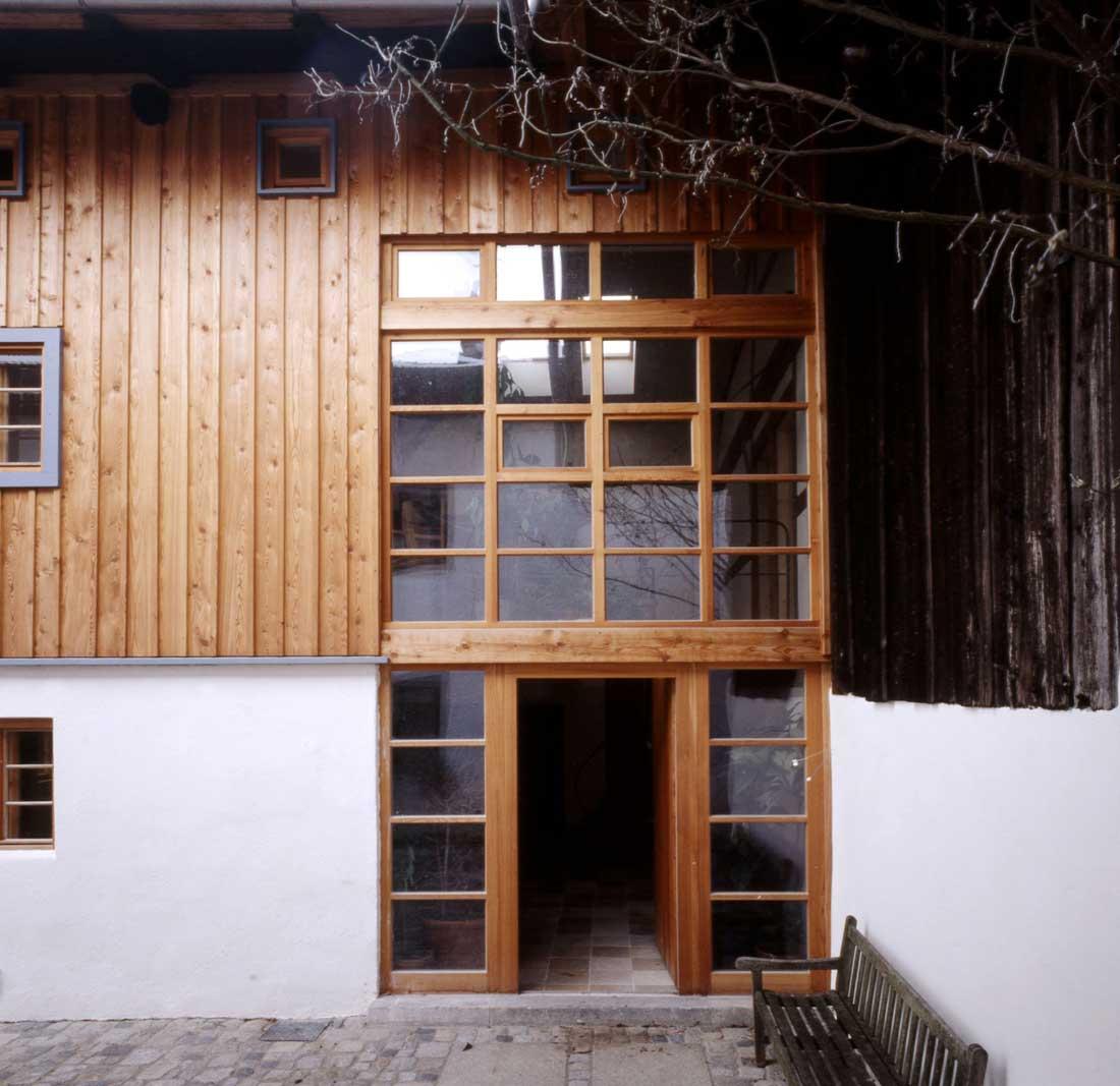 Gabriele Riesner, Architektin, Antwort/Chiemgau, Scheunenausbau, Eingang