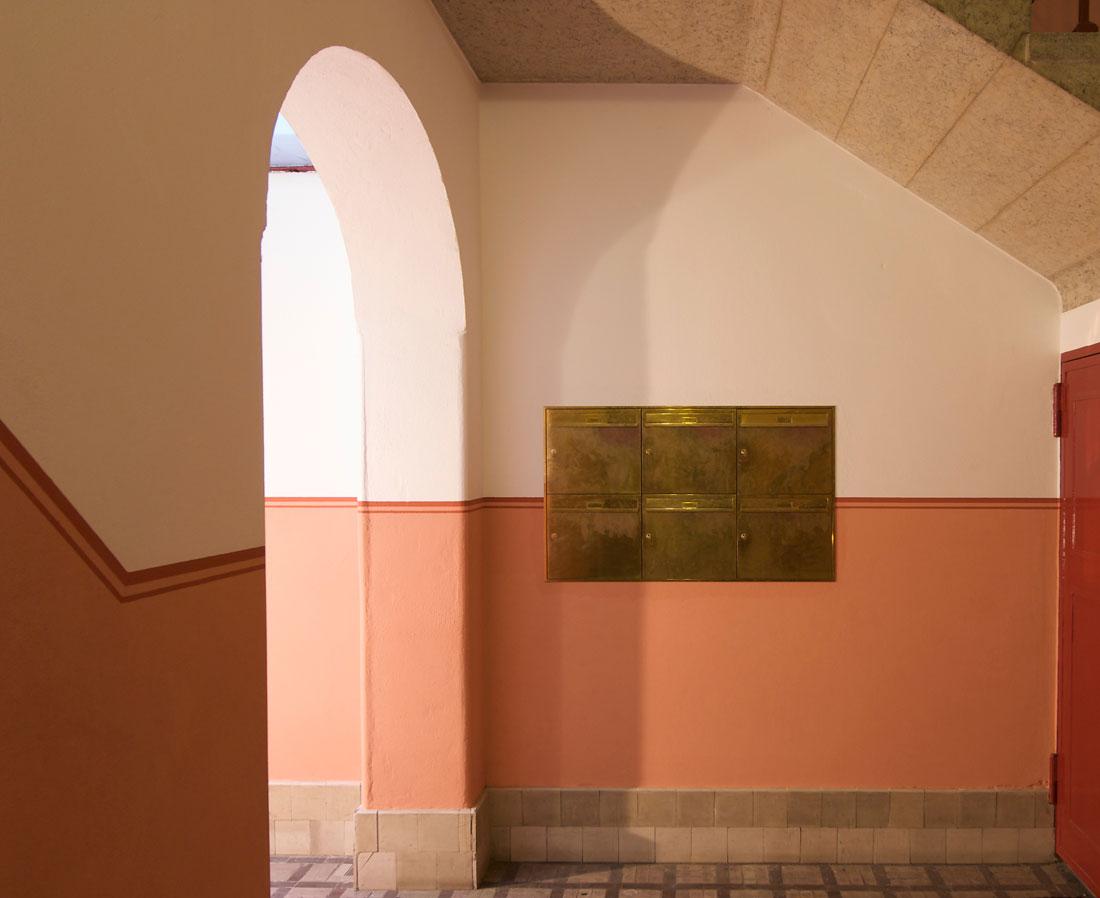 Gabriele Riesner, Architektin, Berlin-Wilmersdorf, Restaurierung/Modernisierung eines Mietshauses, Eingang Briefkasten