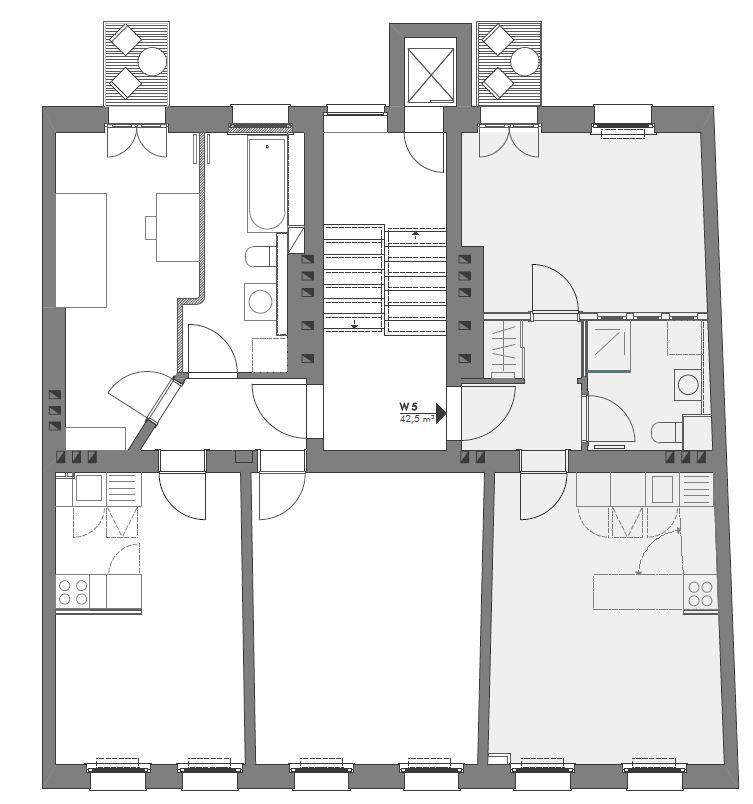 Gabriele Riesner, Architektin, Berlin, Dachgeschossausbau eines Mietshauses in Berlin-Steglitz, Küche