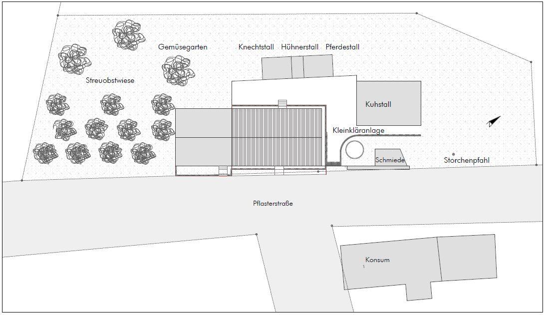 Gabriele Riesner, Architektin, Berlin, Restaurierung Alter Krug, Friedenfelde/Uckermark, Lageplan