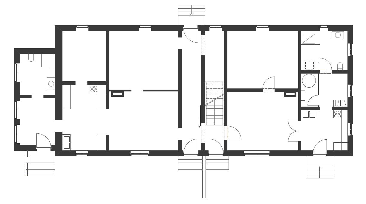 Gabriele Riesner, Architektin, Berlin, Dachausbau eines Doppelstubenhauses, Herrenstein/Uckermark, Erdgeschoss